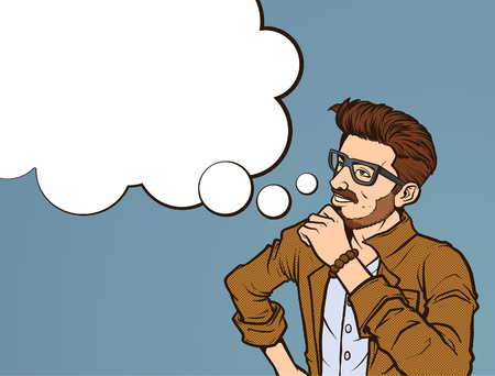 Retro pop art illustration of a hipster millennial thinking Illusztráció