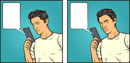 Comic book illustration of a man reacting to something seen on his smartphone. Some elements on separate layers.