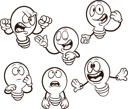 Cartoon light bulb with differente expressions. Vector clip art illustration. Each on a separate layer. 向量圖像