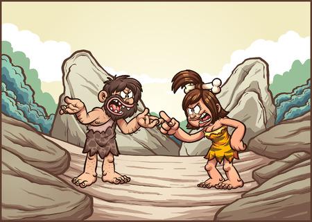 Cartoon caveman couple arguing