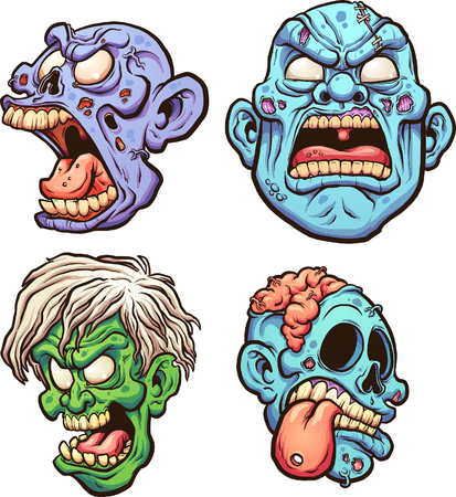 Cartoon zombie heads with different expressions. Vector clip art illustration with simple gradients. Each on a separate layer.
