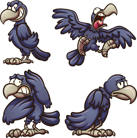 Cartoon crow with different expressions. Vector clip art illustration with simple gradients. Each on a separate layer.