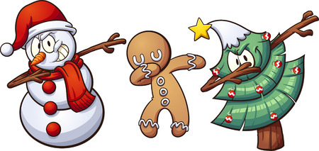 Christmas dabbing characters. Vector clip art illustration with simple gradients. Each on a separate layer. 일러스트