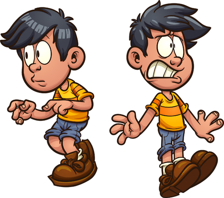Cute cartoon boy cautious and shocked. Vector clip art illustration with simple gradients. Each on a separate layer. Illustration