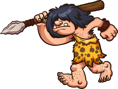 Hunting caveman wielding a spear. Vector clip art illustration with simple gradients. All in a single layer.