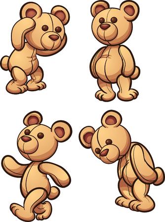 만화 곰 다른 posses입니다. 간단한 그라데이션 벡터 클립 아트 그림.