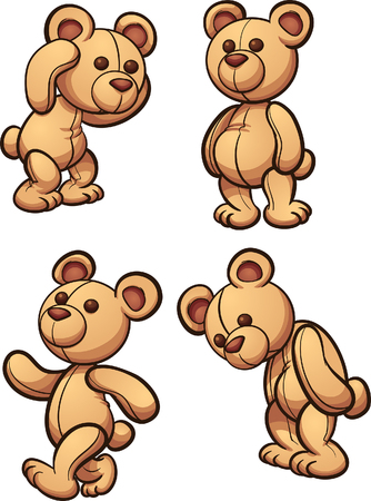 Cartoon teddy bear in different posses. A vector clip art illustration with simple gradients.