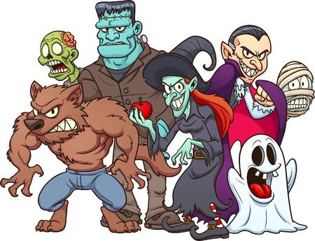 Monstros de Halloween clássicos. Vector clip art ilustração com gradientes simples. Tudo em uma única camada. Foto de archivo - 88209487