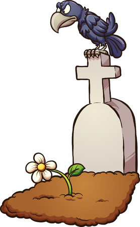 Crow sitting on tombstone. Vector clip art illustration with simple gradients. Tombstone and flower on separate layers.