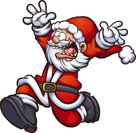 Święty Mikołaj działa przestraszony z bronią w górę. Wektor clipart ilustracja z prostych gradientów. Wszystko w jednej warstwie.