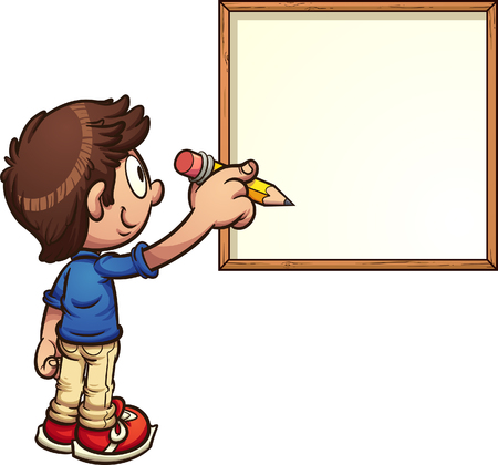 Cartoon boy writing on white board. Vector clip art illustration with simple gradients. Boy and board on separate layers. Иллюстрация