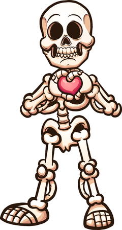 Cartoon skeleton making a heart with its hands. Vector clip art illustration with simple gradients. All in a single layer. Illustration