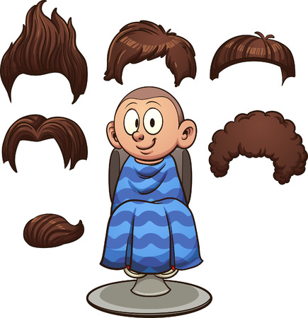 Cartoon boy with different haircuts. Vector clip art illustration with simple gradients. Some elements on separate layers.