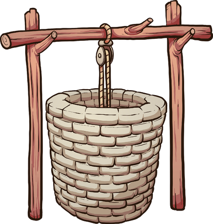 Rustic mud brick well. Vector clip art illustration with simple gradients. Some elements on separate layers.