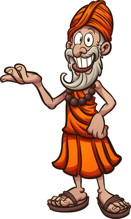 Cartoon Indian guru showcasing something Vector clip art illustration