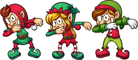 Cartoon dabbing christmas elves vector clip art illustration with simple gradients.