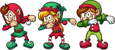 Los duendes de Navidad de la historieta que frotan vector la ilustración del clip art con pendientes simples.