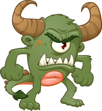 Green angry monster. Vector clip art illustration with simple gradients. All in a single layer.