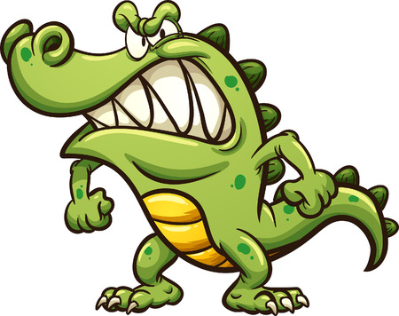 Angry cartoon crocodile. Vector clip art illustration with simple gradients. All in a single layer.  Stock Illustratie