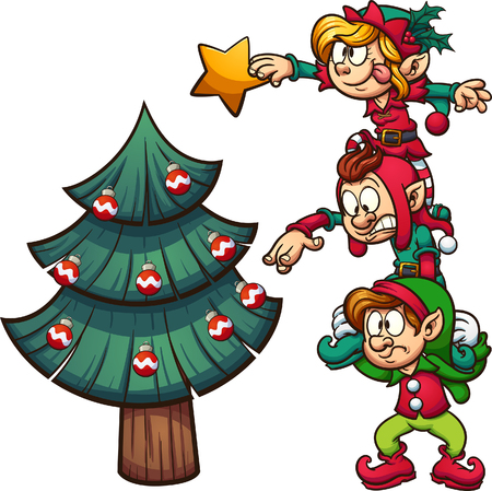 Cartoon elves standing on each other, decorating a Christmas tree. Vector clip art illustration with simple gradients. Elves, tree and star on separate layers. Vectores