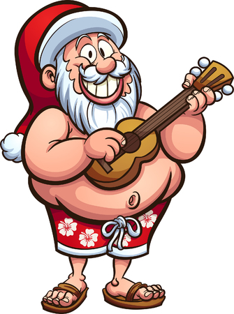 Cartoon Santa Claus wearing a swimsuit and playing the ukulele. Vector clip art illustration with simple gradients. All in a single layer.