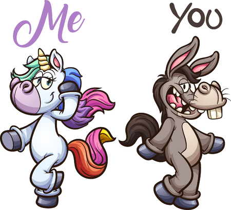Unicorn and donkey posing. Vector clip art illustration with simple gradients. Each on a separate layer.