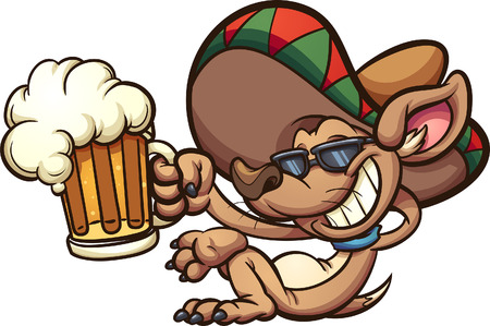 Mexican chihuahua holding a beer mug. Vector clip art illustration with simple gradients all in a single layer.