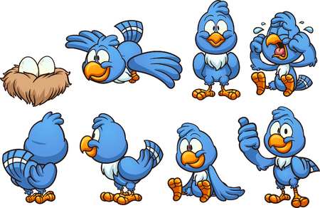 Cartoon blue bird in different positions. Vector clip art illustration with simple gradients.