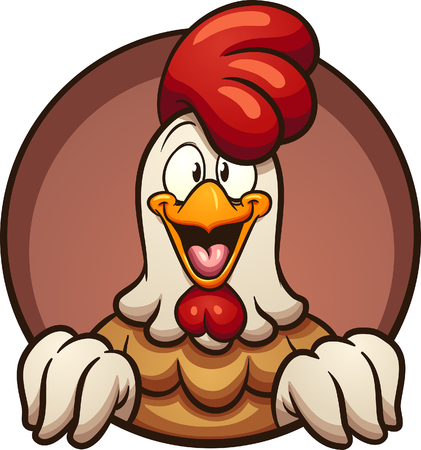 Cartoon chicken peeking out of a round hole. Vector clip art illustration with simple gradients. All in a single layer.