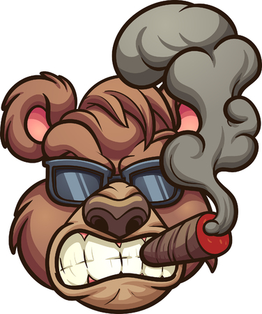 Angry smoking bear with sunglasses. Vector clip art illustration with simple gradients. All in a single layer.
