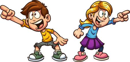 漫画の少年と少女が何かを指差している。単純なグラデーションを使用したベクトル クリップ アート イラストレーション。それぞれ別々のレイヤ