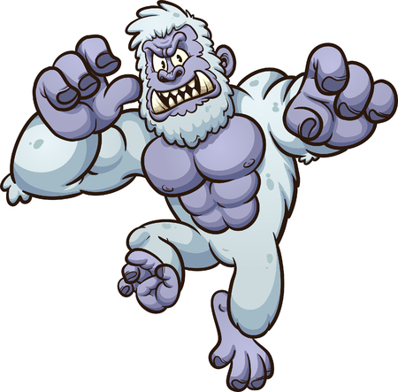Angry yeti monster jumping at the screen. Vector clip art illustration with simple gradients. All in a single layer. Vettoriali