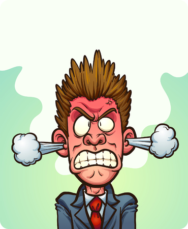 Steaming mad man with vapor coming out of his ears. Vector clip art illustration with simple gradients. Some elements on separate layers. 向量圖像