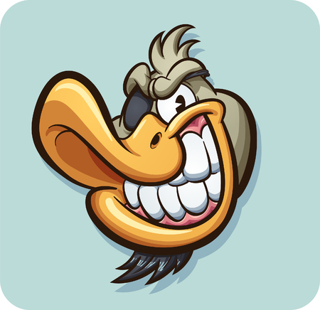 Cartoon duck with eyepatch sticker art. Vector clip art illustration with simple gradients. Some elements on separate layers.