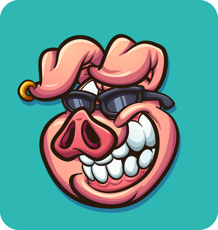 Cartoon pig with sunglasses. Vector clip art illustration with simple gradients. Some elements on separate layers.