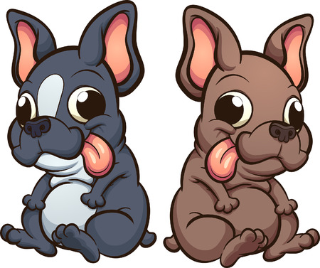 Cartoon French Bulldog puppies sitting. Vector clip art illustration with simple gradients. Each one on a separate layer.