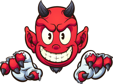 Cartoon devil with gloves vector clip art illustration with simple gradients. Some elements on separate layers.