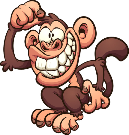 Cartoon monkey scratching it's head. Vector clip art illustration with simple gradients. All in a single layer. Çizim