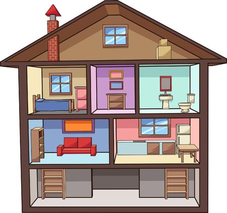Cartoon huis interieur. Vector illustraties illustratie met eenvoudig verlopen. Alles in een enkele laag.