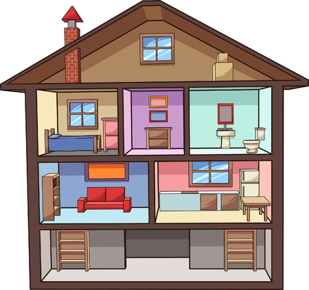 Cartoon house interior. Vector clip art illustration with simple gradients. All in a single layer.