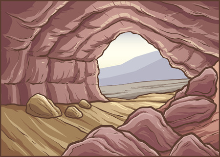 Cartoon cave background. Vector clip art illustration with simple gradients. Some elements on separate layers. Ilustração