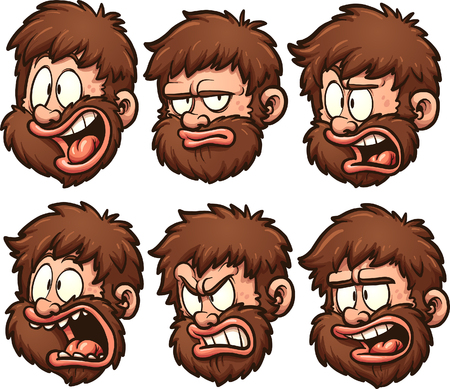 Caveman head with different expressions simple gradients vector clip art illustration each on a separate layer.