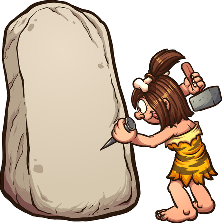 Cartoon cavewoman writing on stone. Vector clip art illustration with simple gradients. Woman and rock on separate layers.