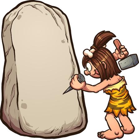 Cartoon cavewoman schrijven op steen. Vector illustraties illustratie met eenvoudig verlopen. Vrouw en rock op afzonderlijke lagen.