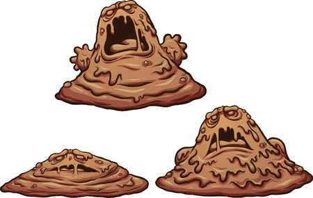 Cartoon mud monster growing up. Vector clip art illustration with simple gradients. Each on a separate layer. 일러스트