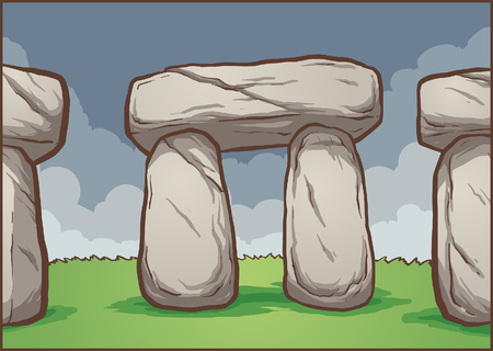 Stonehenge cartoon background. Vector clip art illustration with simple gradients. Some elements on separate layers.
