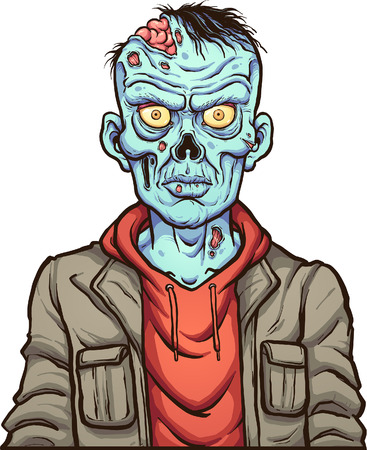 Cartoon serious zombie. Vector clip art illustration with simple gradients. Head and body on separate layers. Ilustrace