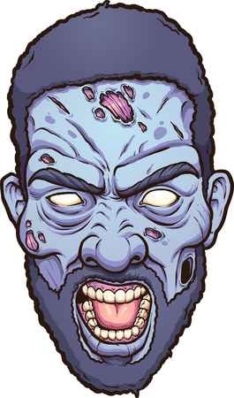 Angry zombie head. Vector clip art illustration with simple gradients. Çizim