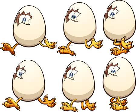 Walking egg sprites ready for animation. Vector clip art illustration with simple gradients. Each on a separate layer.