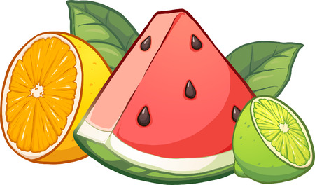 Cartoon tropical fruits. Vector clip art illustration with simple gradients. Each fruit on a separate layer. Çizim